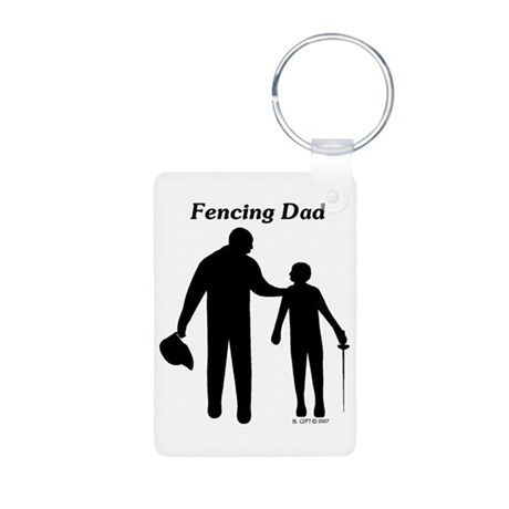 Fencing Dad Aluminum Photo Keychain