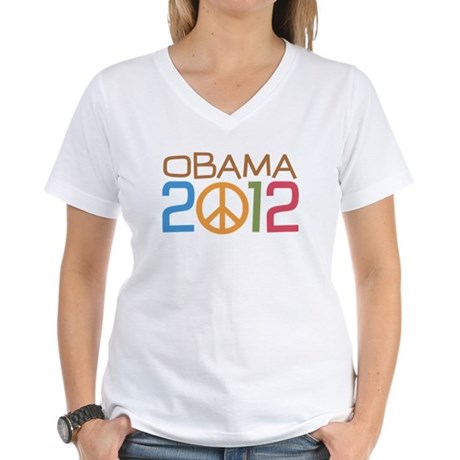 Obama Peace Sign Women's V-Neck T-Shirt