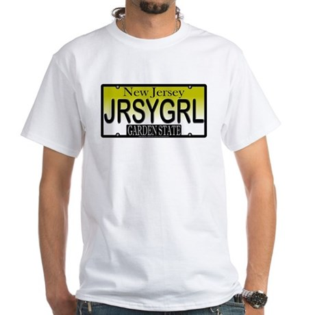 Jersey Girl NJ Plate White T-Shirt
