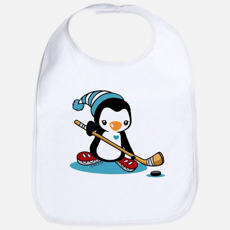 Ice Hockey Penguin Cotton Baby Bib