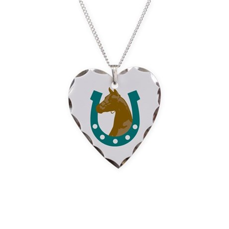 Lucky Horse Necklace Heart Charm