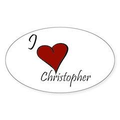 I love Christopher Sticker (Oval 50 pk)