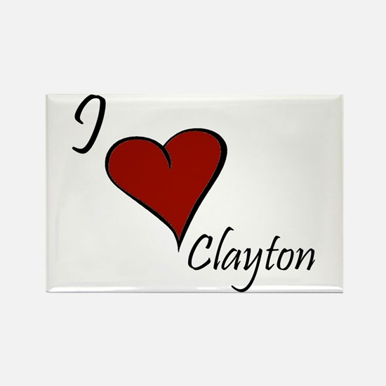 I love Clayton Rectangle Magnet