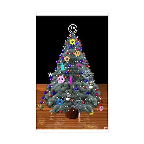 3D Christmas Peace Tree Rectangle Sticker