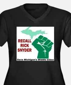 Recall Rick Snyder Sign Women's Plus Size V-Neck D