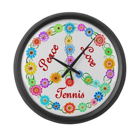 Tennis Peace Sign Large Wall Clock