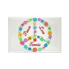 Tennis Peace Sign Rectangle Magnet
