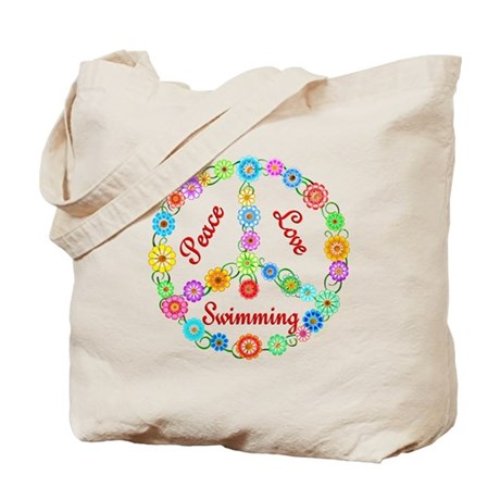 Swimming Peace Sign Tote Bag
