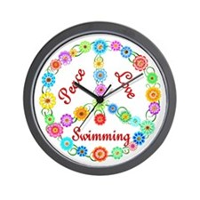 Swimming Peace Sign Wall Clock