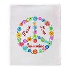 Swimming Peace Sign Throw Blanket
