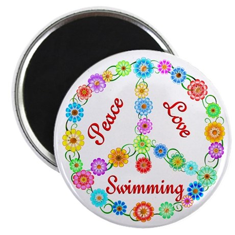 """Swimming Peace Sign 2.25"""" Magnet (10 pack)"""