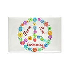 Swimming Peace Sign Rectangle Magnet