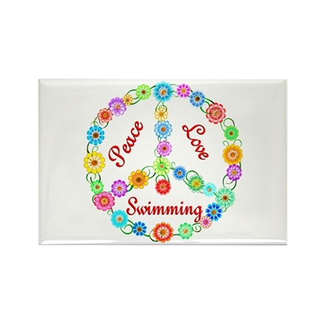 Swimming Peace Sign Rectangle Magnet (10 pack)