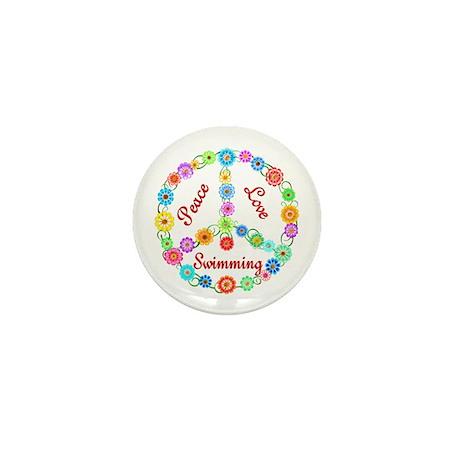 Swimming Peace Sign Mini Button
