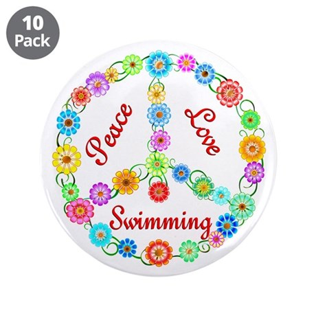 """Swimming Peace Sign 3.5"""" Button (10 pack)"""