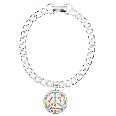 Swimming Peace Sign Charm Bracelet, One Charm