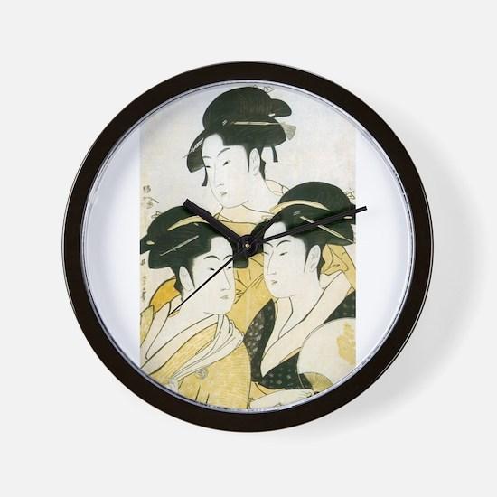 Utamaro Three Women Wall Clock
