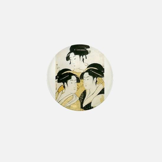 Utamaro Three Women Mini Button