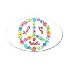 Sudoku Peace Sign 38.5 x 24.5 Oval Wall Peel