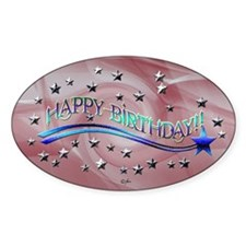 Happy Birthday Stars Oval Decal
