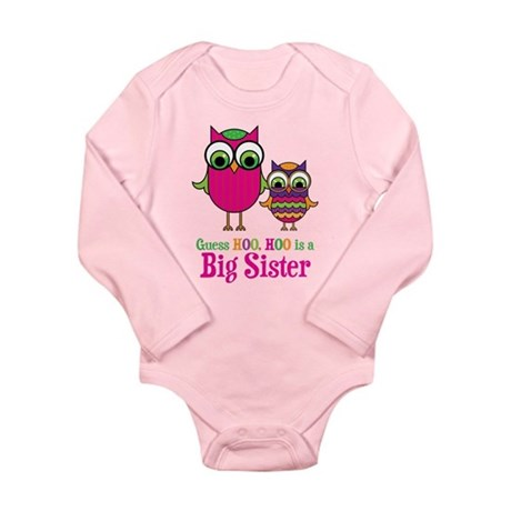Guess Hoo Big Sister Long Sleeve Infant Bodysuit