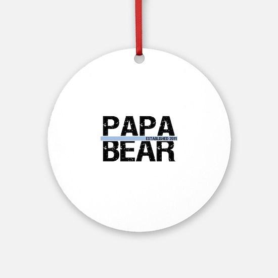 Papa Bear 2011 Banner Ornament (Round)
