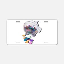 Piggy Bank Colorful Chips Aluminum License Plate