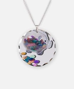 Piggy Bank Colorful Chips Necklace
