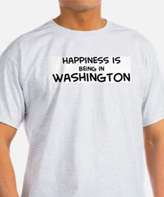 Happiness is Washington Ash Grey T-Shirt