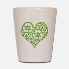 Green Heart Recycle Shot Glass