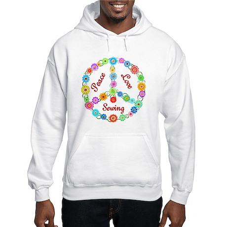 Sewing Peace Sign Hooded Sweatshirt