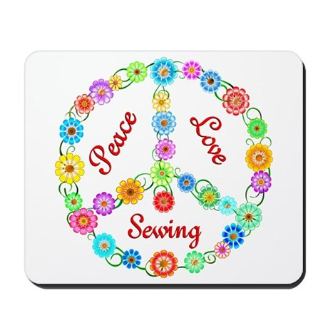 Sewing Peace Sign Mousepad