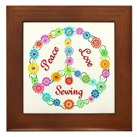 Sewing Peace Sign Framed Tile