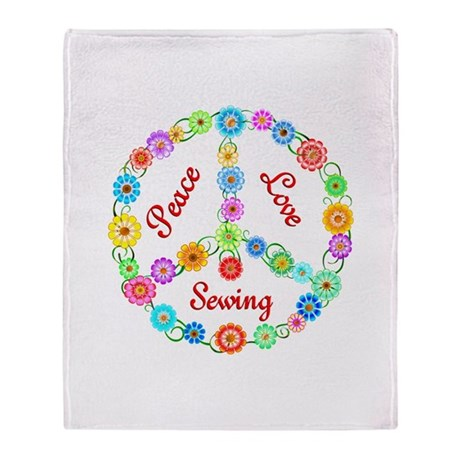 Sewing Peace Sign Throw Blanket