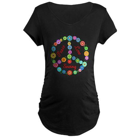 Sewing Peace Sign Maternity Dark T-Shirt