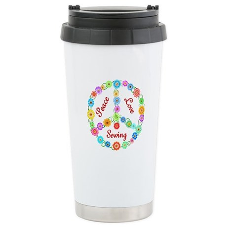 Sewing Peace Sign Stainless Steel Travel Mug