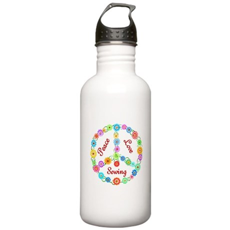 Sewing Peace Sign Stainless Water Bottle 1.0L