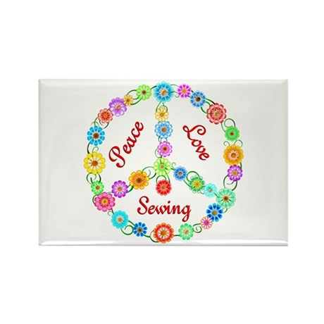 Sewing Peace Sign Rectangle Magnet (10 pack)