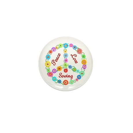 Sewing Peace Sign Mini Button