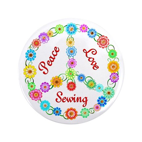 """Sewing Peace Sign 3.5"""" Button (100 pack)"""