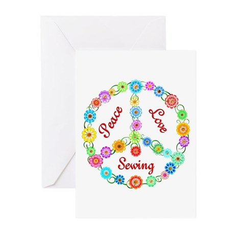 Sewing Peace Sign Greeting Cards (Pk of 20)
