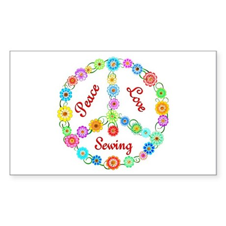 Sewing Peace Sign Sticker (Rectangle)