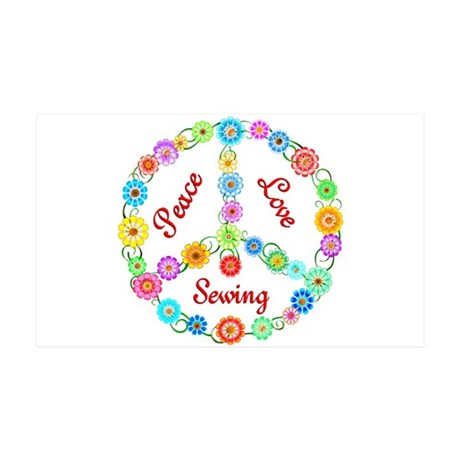 Sewing Peace Sign 38.5 x 24.5 Wall Peel