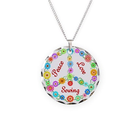 Sewing Peace Sign Necklace Circle Charm