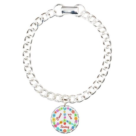 Sewing Peace Sign Charm Bracelet, One Charm