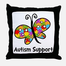 Autism Butterfly Throw Pillow