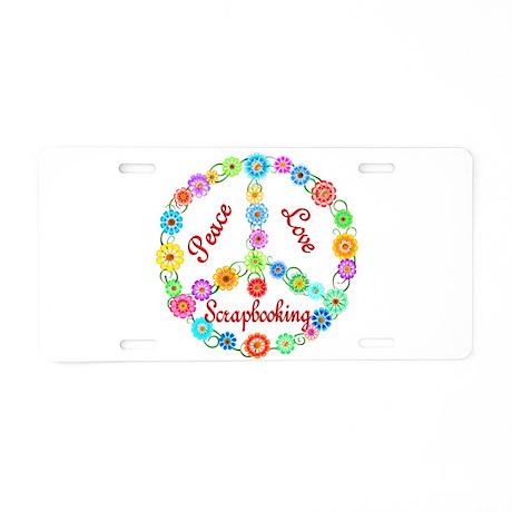 Scrapbooking Peace Sign Aluminum License Plate