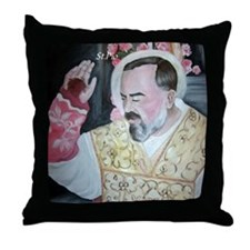 St.Padre Pio Throw Pillow
