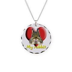 I love my rabbit! Necklace Circle Charm