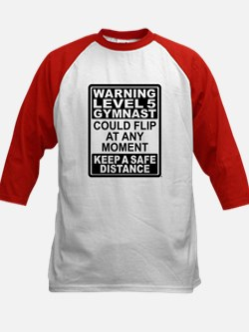 Warning Gymnast May Flip Kids Baseball Jersey